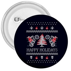 Motorcycle Santa Happy Holidays Ugly Christmas Blue Background 3  Buttons