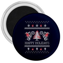 Motorcycle Santa Happy Holidays Ugly Christmas Blue Background 3  Magnets