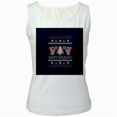 Motorcycle Santa Happy Holidays Ugly Christmas Blue Background Women s White Tank Top