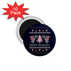 Motorcycle Santa Happy Holidays Ugly Christmas Blue Background 1.75  Magnets (10 pack)