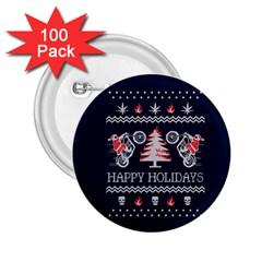 Motorcycle Santa Happy Holidays Ugly Christmas Blue Background 2.25  Buttons (100 pack)