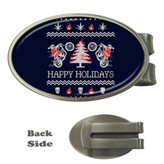 Motorcycle Santa Happy Holidays Ugly Christmas Blue Background Money Clips (Oval)