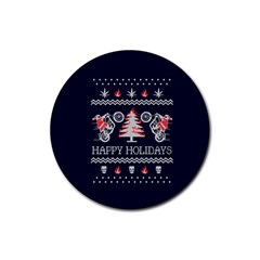 Motorcycle Santa Happy Holidays Ugly Christmas Blue Background Rubber Round Coaster (4 pack)