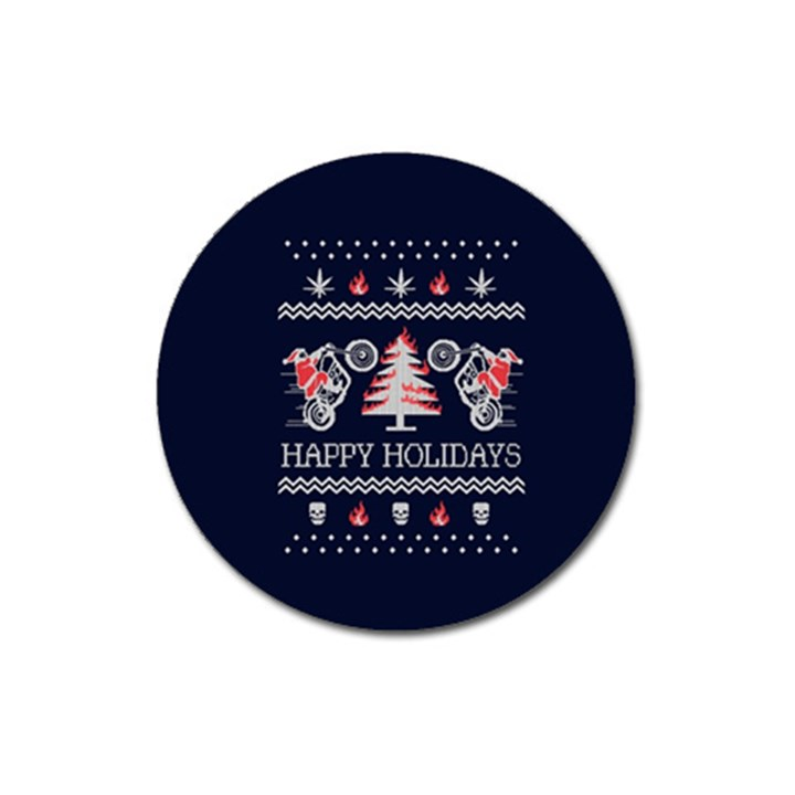 Motorcycle Santa Happy Holidays Ugly Christmas Blue Background Magnet 3  (Round)