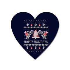 Motorcycle Santa Happy Holidays Ugly Christmas Blue Background Heart Magnet