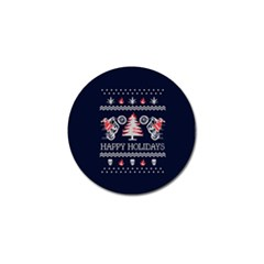 Motorcycle Santa Happy Holidays Ugly Christmas Blue Background Golf Ball Marker (4 pack)