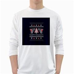 Motorcycle Santa Happy Holidays Ugly Christmas Blue Background White Long Sleeve T Shirts