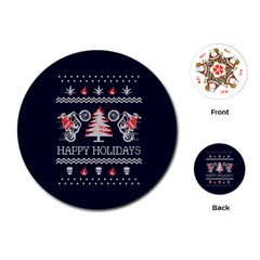 Motorcycle Santa Happy Holidays Ugly Christmas Blue Background Playing Cards (Round)