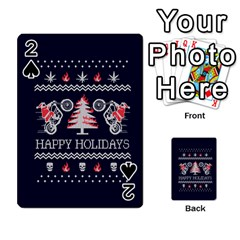 Motorcycle Santa Happy Holidays Ugly Christmas Blue Background Playing Cards 54 Designs