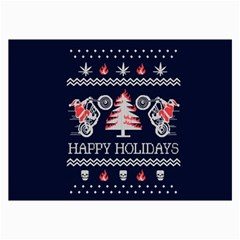 Motorcycle Santa Happy Holidays Ugly Christmas Blue Background Collage Prints