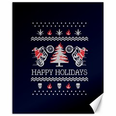 Motorcycle Santa Happy Holidays Ugly Christmas Blue Background Canvas 16  X 20
