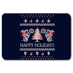 Motorcycle Santa Happy Holidays Ugly Christmas Blue Background Large Doormat