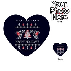 Motorcycle Santa Happy Holidays Ugly Christmas Blue Background Multi Purpose Cards (heart)