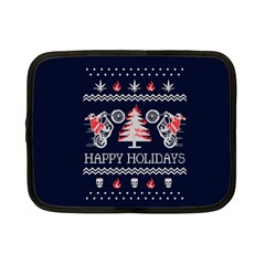 Motorcycle Santa Happy Holidays Ugly Christmas Blue Background Netbook Case (small)