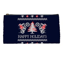 Motorcycle Santa Happy Holidays Ugly Christmas Blue Background Pencil Cases