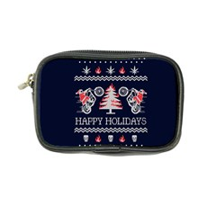 Motorcycle Santa Happy Holidays Ugly Christmas Blue Background Coin Purse