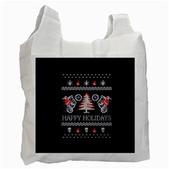 Motorcycle Santa Happy Holidays Ugly Christmas Blue Background Recycle Bag (Two Side)
