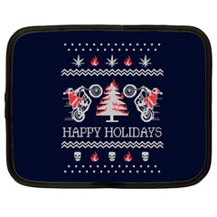 Motorcycle Santa Happy Holidays Ugly Christmas Blue Background Netbook Case (XXL)