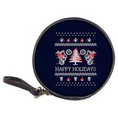Motorcycle Santa Happy Holidays Ugly Christmas Blue Background Classic 20 Cd Wallets