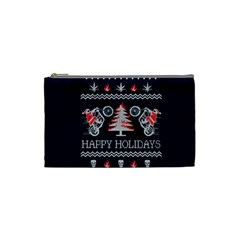 Motorcycle Santa Happy Holidays Ugly Christmas Blue Background Cosmetic Bag (small)