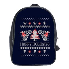 Motorcycle Santa Happy Holidays Ugly Christmas Blue Background School Bags(Large)