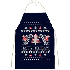 Motorcycle Santa Happy Holidays Ugly Christmas Blue Background Full Print Aprons