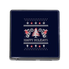 Motorcycle Santa Happy Holidays Ugly Christmas Blue Background Memory Card Reader (square)