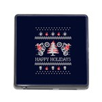 Motorcycle Santa Happy Holidays Ugly Christmas Blue Background Memory Card Reader (Square) Front