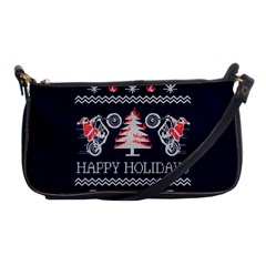 Motorcycle Santa Happy Holidays Ugly Christmas Blue Background Shoulder Clutch Bags
