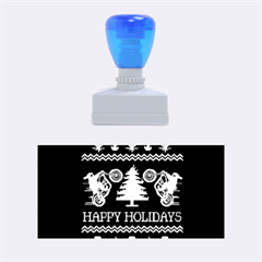 Motorcycle Santa Happy Holidays Ugly Christmas Blue Background Rubber Stamps (Medium)
