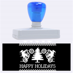 Motorcycle Santa Happy Holidays Ugly Christmas Blue Background Rubber Address Stamps (xl)