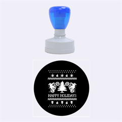 Motorcycle Santa Happy Holidays Ugly Christmas Blue Background Rubber Round Stamps (Medium)