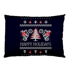 Motorcycle Santa Happy Holidays Ugly Christmas Blue Background Pillow Case (Two Sides)