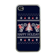 Motorcycle Santa Happy Holidays Ugly Christmas Blue Background Apple iPhone 4 Case (Clear)