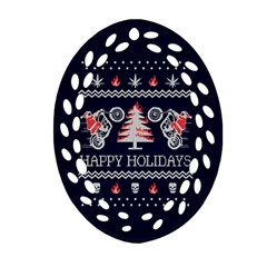 Motorcycle Santa Happy Holidays Ugly Christmas Blue Background Oval Filigree Ornament (2-Side)
