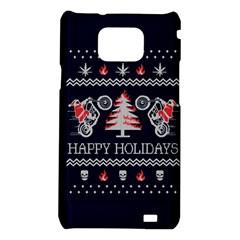 Motorcycle Santa Happy Holidays Ugly Christmas Blue Background Samsung Galaxy S2 i9100 Hardshell Case
