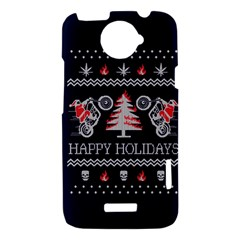 Motorcycle Santa Happy Holidays Ugly Christmas Blue Background HTC One X Hardshell Case