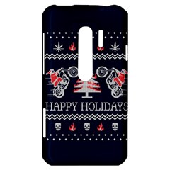 Motorcycle Santa Happy Holidays Ugly Christmas Blue Background HTC Evo 3D Hardshell Case