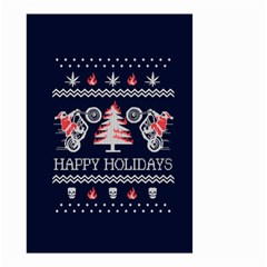 Motorcycle Santa Happy Holidays Ugly Christmas Blue Background Small Garden Flag (two Sides)
