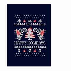 Motorcycle Santa Happy Holidays Ugly Christmas Blue Background Large Garden Flag (two Sides)