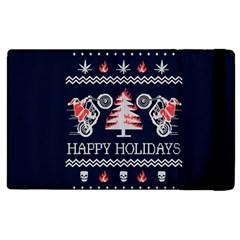 Motorcycle Santa Happy Holidays Ugly Christmas Blue Background Apple iPad 3/4 Flip Case