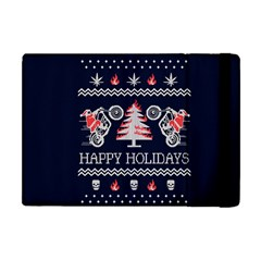 Motorcycle Santa Happy Holidays Ugly Christmas Blue Background Apple iPad Mini Flip Case