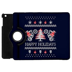 Motorcycle Santa Happy Holidays Ugly Christmas Blue Background Apple iPad Mini Flip 360 Case