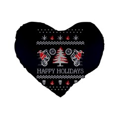 Motorcycle Santa Happy Holidays Ugly Christmas Blue Background Standard 16  Premium Heart Shape Cushions