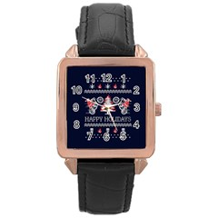 Motorcycle Santa Happy Holidays Ugly Christmas Blue Background Rose Gold Leather Watch