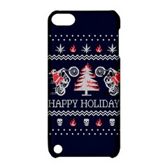 Motorcycle Santa Happy Holidays Ugly Christmas Blue Background Apple iPod Touch 5 Hardshell Case with Stand