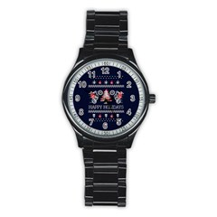 Motorcycle Santa Happy Holidays Ugly Christmas Blue Background Stainless Steel Round Watch