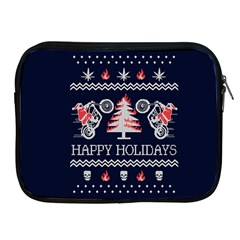 Motorcycle Santa Happy Holidays Ugly Christmas Blue Background Apple iPad 2/3/4 Zipper Cases
