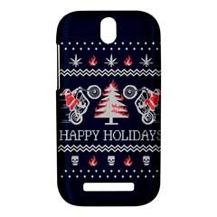 Motorcycle Santa Happy Holidays Ugly Christmas Blue Background HTC One SV Hardshell Case
