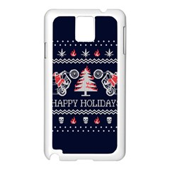 Motorcycle Santa Happy Holidays Ugly Christmas Blue Background Samsung Galaxy Note 3 N9005 Case (White)